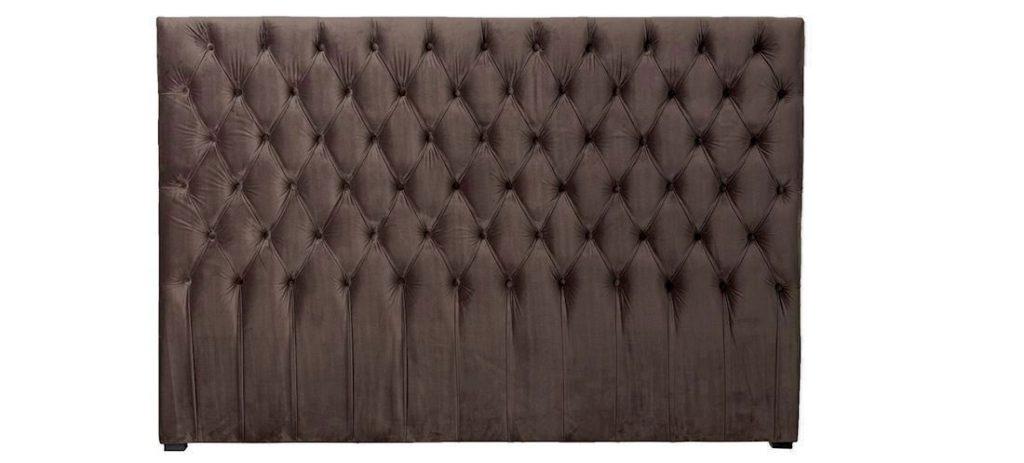 Sengegavl med chesterfield inspiration i mørk velour 180cm