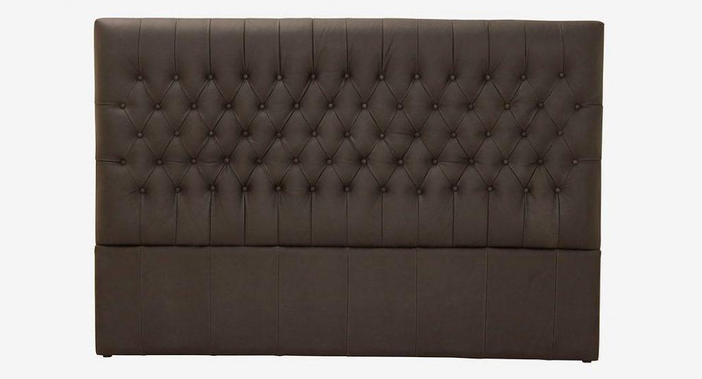 Lækker sengegavl i vintage læder med chesterfield inspiration