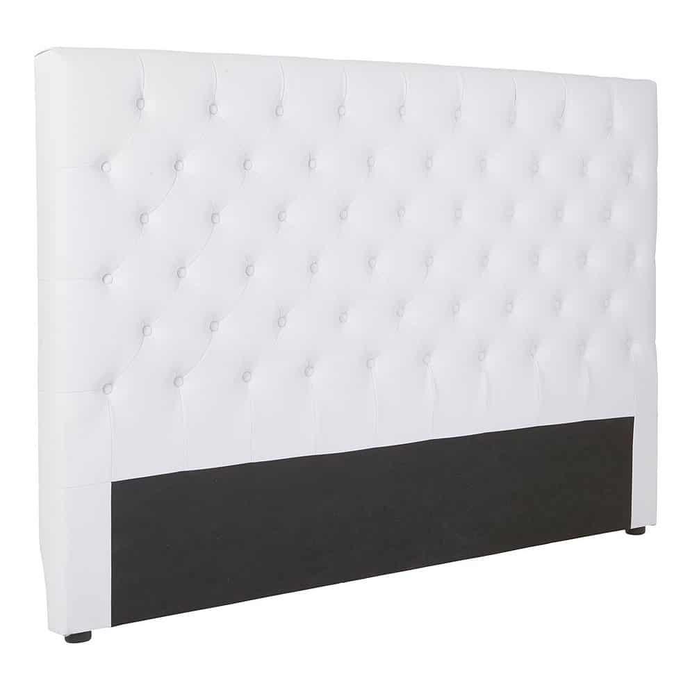 Hvid sengegavl i kunstlæder